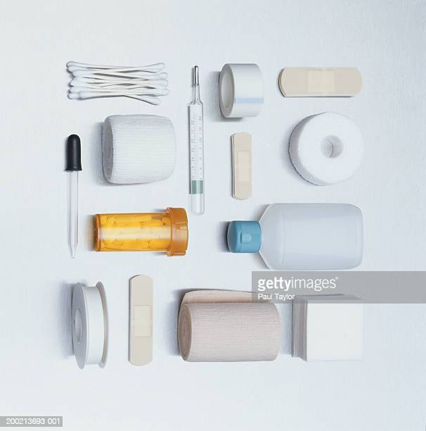 medical and first aid supplies - first aid kit stock pictures, royalty-free photos & images