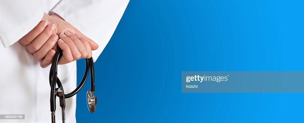 Medical background whit stethoscope blue : Stock Photo