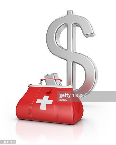 medical bag and dollar - dokterstas stockfoto's en -beelden