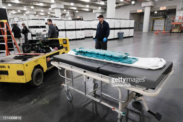 Medical beds are displayed at the Javits Convention Center which is being turned into a hospital to help fight coronavirus cases on March 23 2020 in...