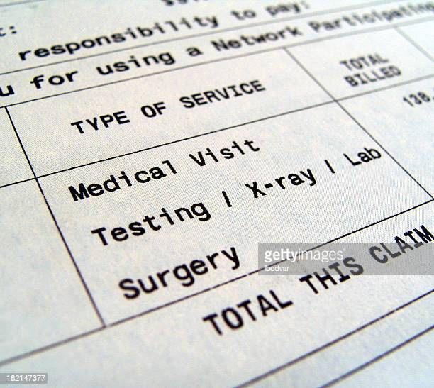 medical bills for separate types of services - financial bill stock pictures, royalty-free photos & images