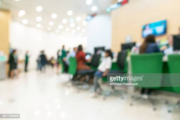 medical blur background customer or patient service counter, office lobby, or bank business building interior inside waiting hall area - the image bank imagens e fotografias de stock