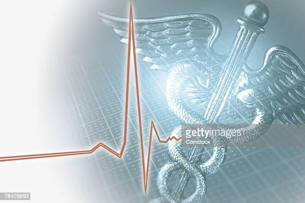 Medical caduceus symbol and EKG