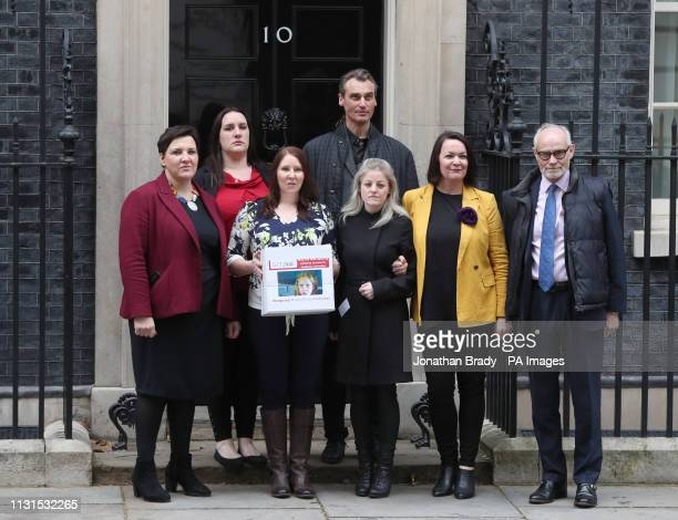Medical cannabis campaigners Toni Antoniazzi Emma Appleby Joanne Griffiths Benedict Lamb Ashley West Julie Young and Crispin Blunt hand a petition in...