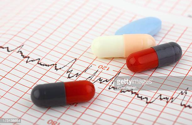 medical chart and pills - heart disease stock pictures, royalty-free photos & images