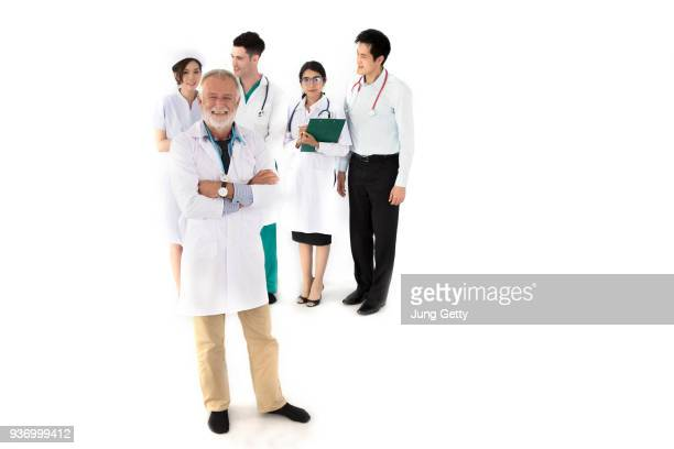 Medical doctors group. Isolated on white background on white background  business concept and copy space for texture