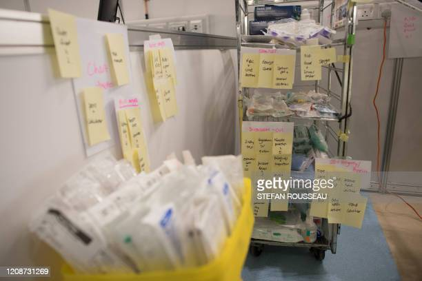 Medical equipment is labelled and prepared for use by NHS staff at the ExCel centre in London on March 31 which has been transformed into a field...