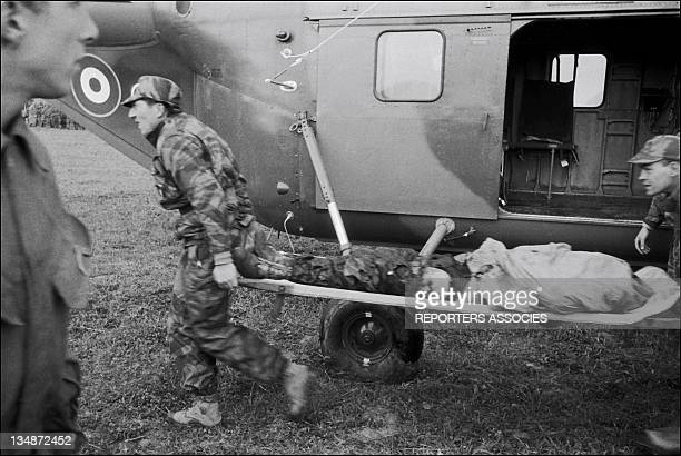 Medical evacuation by helicopter during 'Operation Bigeard' in March 1956 when an armed outbreak in SoukAhras South of Constantine region Algeria led...