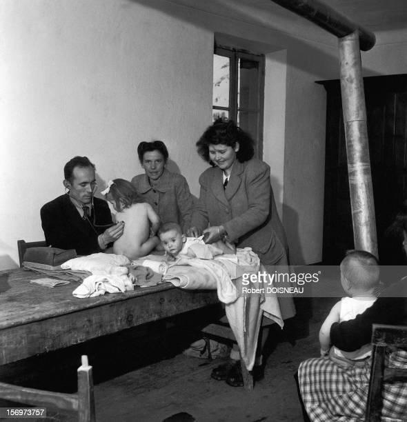 Medical examination, 1947 in Saint-Veran, France.