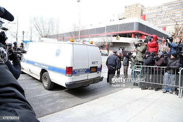 A medical examiner van presumed to be carrying the body of L'Wren Scott departs 200 11th Avenue on March 17 2014 in New York City where fashion...