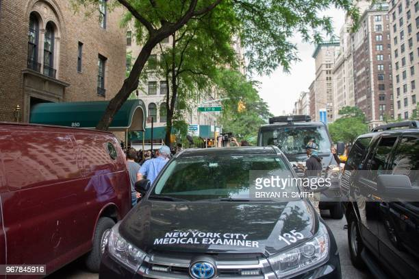 Medical Examiner vehicle is parked outside the apartment where fashion designer Kate Spade was found dead at age 55 on June 5 2018 in New York Spade...
