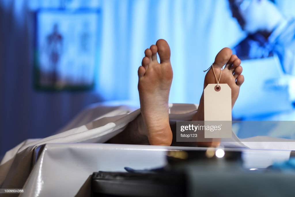 Medical Examiner with corpse in morgue. : Stock Photo