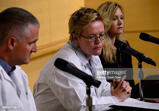 Medical experts address the media during a press conference at the Children's Hospital Colorado in Aurora CO regarding the update on the respiratory...