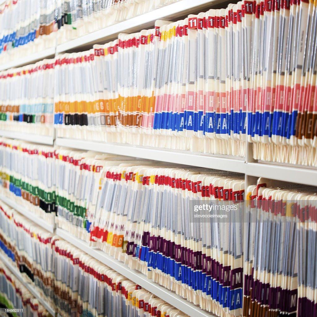 Medical Files In Shelf : Stock Photo