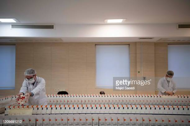 Medical firm staff work in a lab on coronavirus testing kits on April 11, 2020 in Tehran, Iran. A medical firm outside of Tehran has launched a...