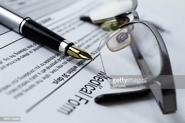 Medizinische form und fountain pen