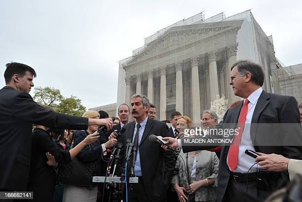 Medical geneticist Dr. Harry Ostrer talks to the press outside the US Supreme Court in Washington on April 15, 2013. The Supreme Court is expected to...