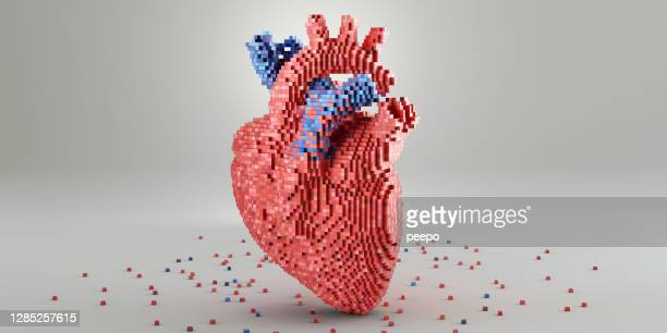 medical heart model made from red and blue metallic blocks - healthcare and medicine stock pictures, royalty-free photos & images