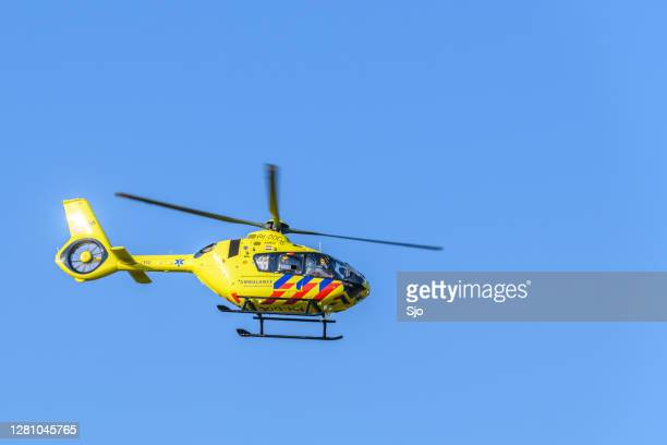 """medical helicopter taking off from the scene of a severe accident on the n50 road - """"sjoerd van der wal"""" or """"sjo"""" stock pictures, royalty-free photos & images"""