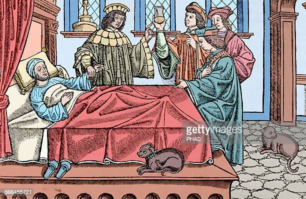 Medical History 16th centry Doctors with a patient Engraving by Expositio Ugonis Senensis super Aforismos Hippocratis Pavia Colored