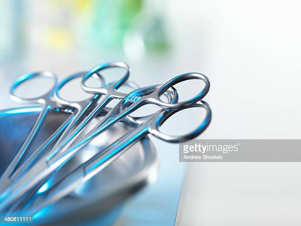 medical instruments in tray - surgical equipment stock photos and pictures