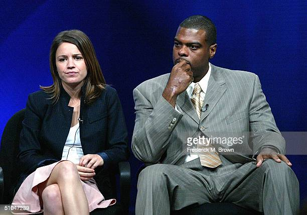 'Medical Investigation' actors Anna Belknap and Troy Winbush speak with the press at the 2004 TCA Summer Press Tour at the Century Plaza Hotel on...