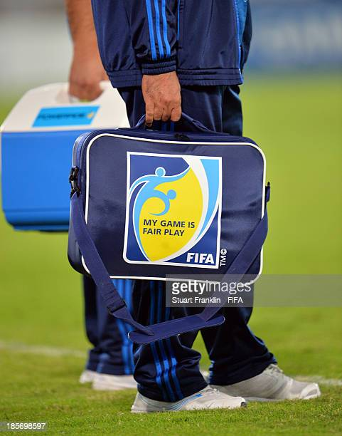 FIFA medical kit during the FIFA U17 group F match between Mexico and Iraq at Khalifa Bin Zayed Stadium on October 22 2013 in Al Ain United Arab...