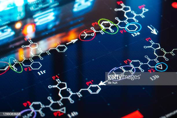 medical laboratory research background - chemical formula stock pictures, royalty-free photos & images