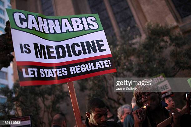 Medical marijuana advocates hold signs as they demonstrate outside the site where US President Barack Obama was holding a fundraiser on February 16...