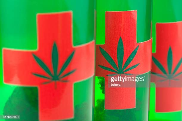 medical marijuana containers - medical cannabis stock photos and pictures