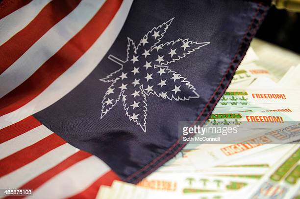 Medical Marijuana Flag with each star representing a state that has legalized medical marijuana during the High Times Cannabis Cup at Denver Mart in...