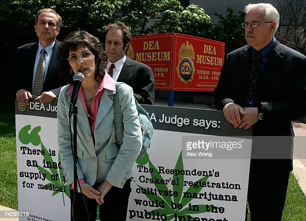 Medical marijuana user Angel Raich of Oakland California speaks as clinical neurologist Denis Petro Rick Doblin President of the Multidisciplinary...