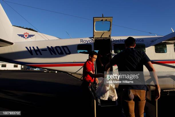 Medical Officer Eugene Wong and Griffith University medical student Ryan Erskine during critical care training prepare to take part in a Royal Flying...