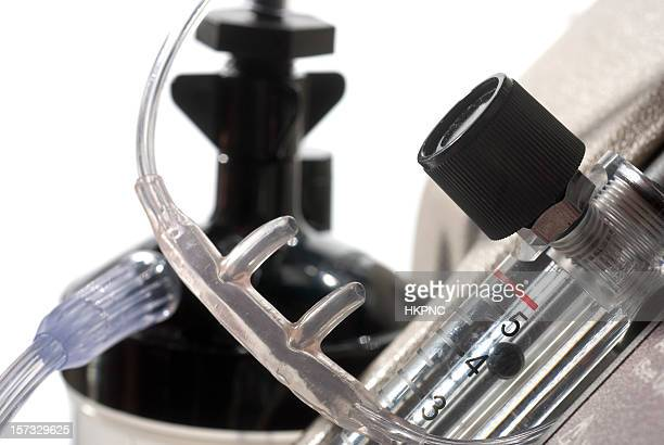 medical oxygen concentrator, flow meter, cannula & hydration tank - copd stock photos and pictures