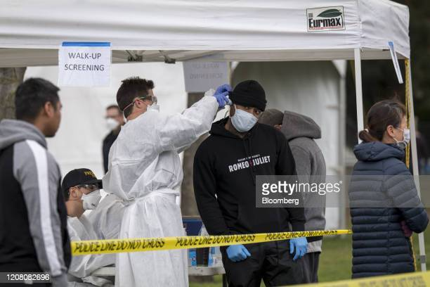 A medical person checks the temperature of a person at a free Covid19 testing site in Hayward California US on Monday March 23 2020 Governor Newsom...
