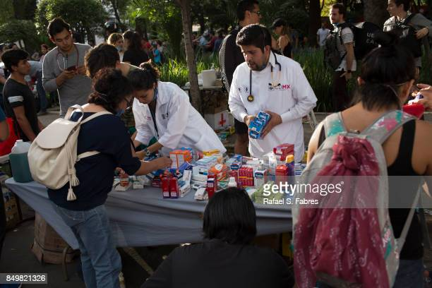 Medical personnel organize supplies after a magnitude 71 earthquake struck on September 19 2017 in Mexico City Mexico The earthquake caused multiple...