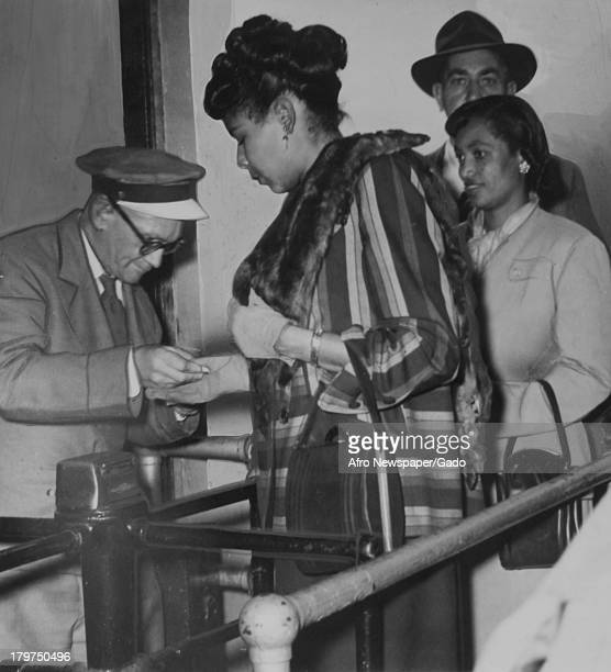 Medical practitioner Rachel Robinson enters the Yankee Stadium on October 5 for the first game of the series 1949 She was the wife of American...
