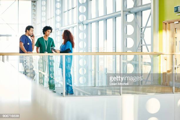 Medical professionals talking in modern hospital corridor