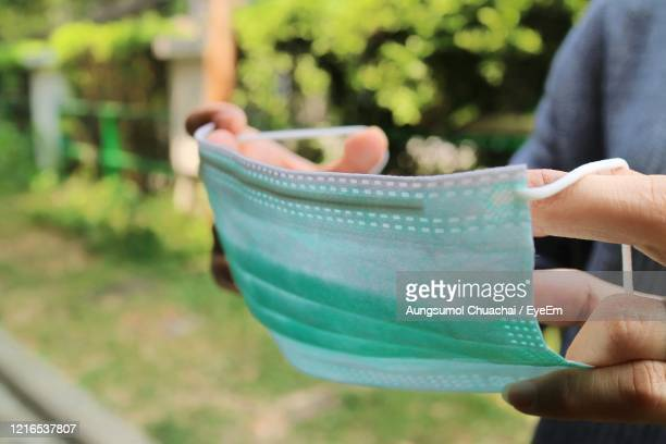 medical protective mask using to health protection from corona virus, covid-19. - aungsumol stock pictures, royalty-free photos & images
