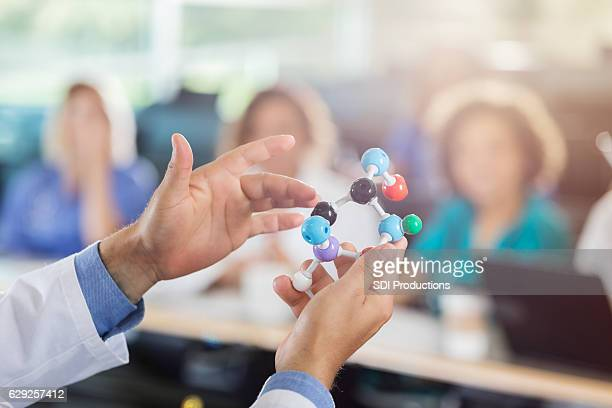 Medical school professor uses molecular model in class