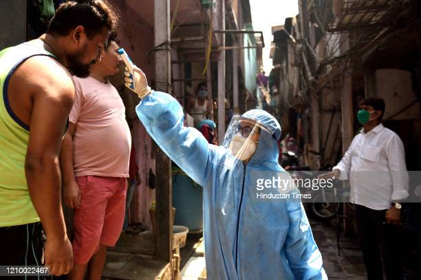 Medical screening organized for the residents of Shastri nagar slums in Dharavi, during the nationwide lockdown, imposed in the wake of the...