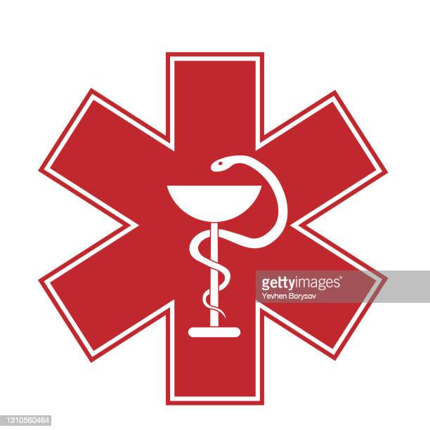 medical sign star of life icon. hospital ambulance star glyph style pictogram - 出来事の発生 ストックフォトと画像