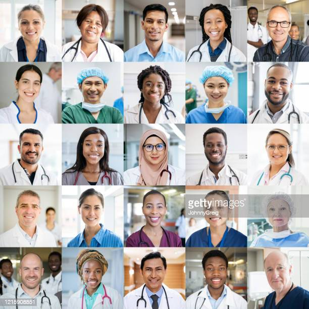 medical staff around the world - ethnically diverse headshot portraits - image montage stock pictures, royalty-free photos & images