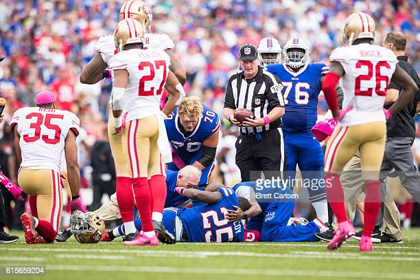 Medical staff assesses LeSean McCoy of the Buffalo Bills on the field during the first half against the San Francisco 49ers on October 16 2016 at New...