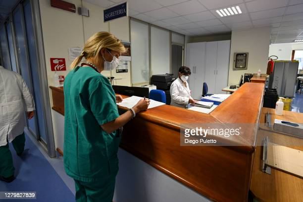 Medical staff at work in the area dedicated to Covid19 inside the Mauriziano Hospital in Turin on October 12 2020 in Turin Italy The new COVID19...