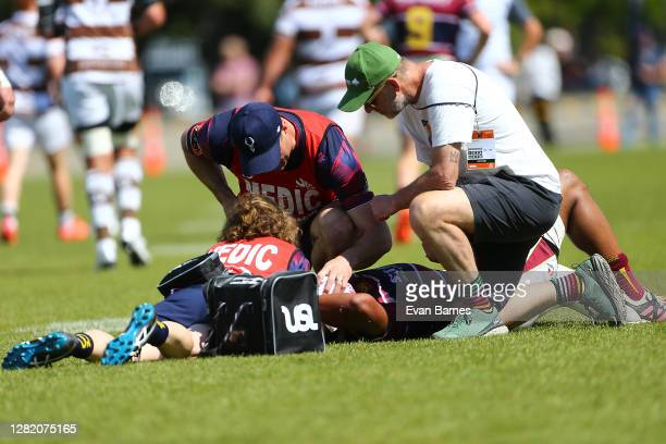 Medical Staff attend to Southland Player Raymond Tatfu during the round 7 Mitre 10 Cup match between Tasman and Southland at Trafalgar Park on...