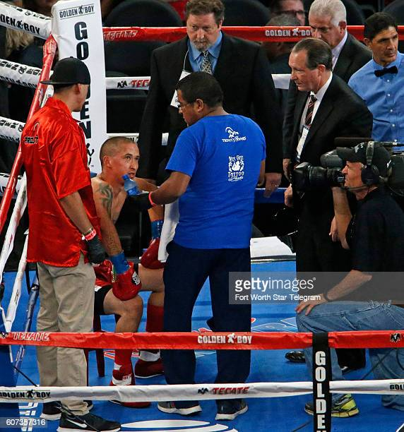 Medical staff enter the ring to tend to Ernesto Hernandez after getting hit by opponent Vergil Ortiz Jr who scored a firstround knockout in the...