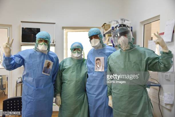 Medical staff members pose for a pic during International Nurses Day at Abdel Rahman Mami Hospital the central hospital for covid19 infected cases