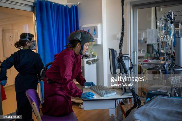 Medical staff monitoring COVID-19 patients supported by Ecmo machines at Royal Papworth Hospital on June 15 United Kingdom. Royal Papworth Hospital...
