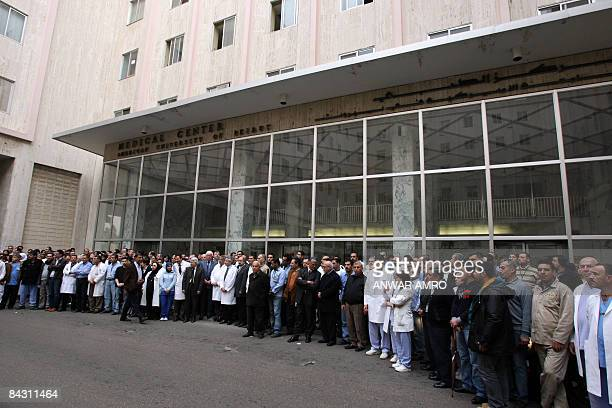 Medical staff of the American University of Beirut hold a sit-inn at the entrance of the hospital in Beirut on January 16, 2008 to condemn the...